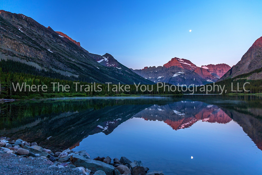 67  Sunrise and Moonset Over Swiftcurrent, Many Glacier Area of Glacier National Park, Montana