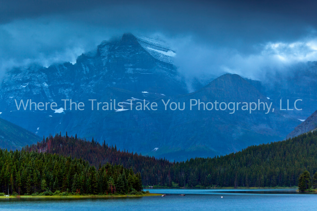 32  Blue Water, Blue Mountain:  Swiftcurrent Lake and Mt. Gould in the Many Glacier area of Glacier National Park, Montana