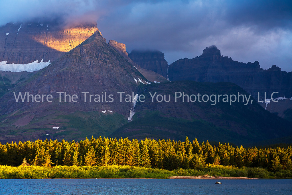 47  Sunrise at Swiftcurrent in the Many Glacier area of Glacier National Park, Montana