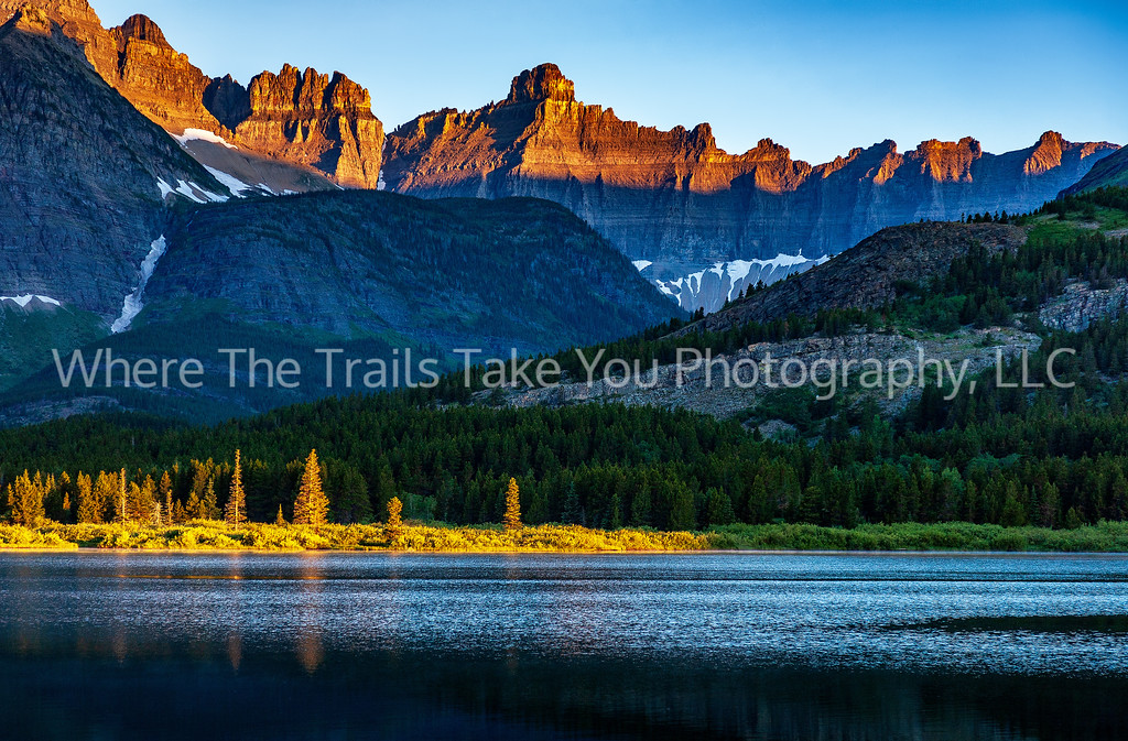 64  Sunrise over Mt. Wilbur and Swiftcurrent Lake in the Many Glacier area of Glacier National Park, Montana