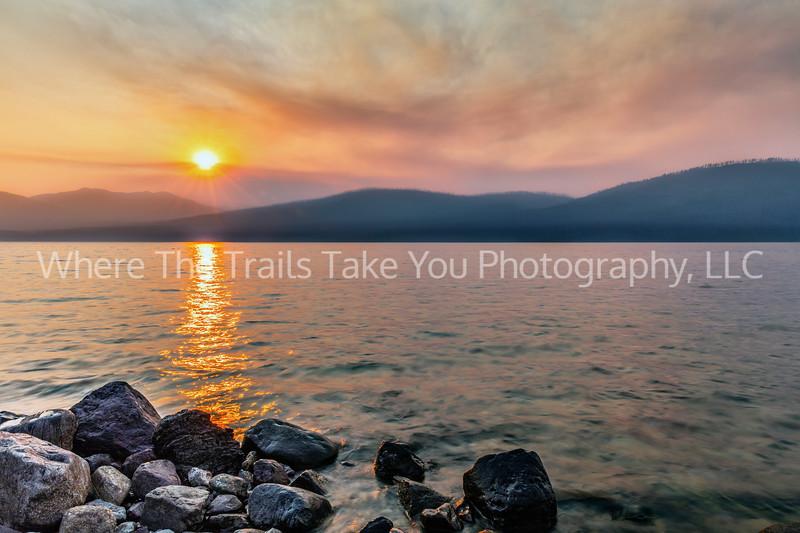 117.  A Smoky Sunset Over Lake McDonald