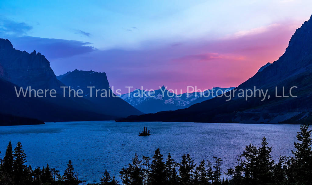 71  Sunset Afterglow, Wildgoose Island in St. Mary Lake, Glacier National Park, Montana