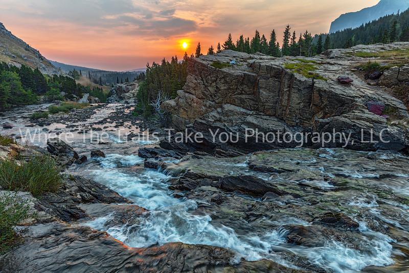 Sunrise Over Swiftcurrent Falls
