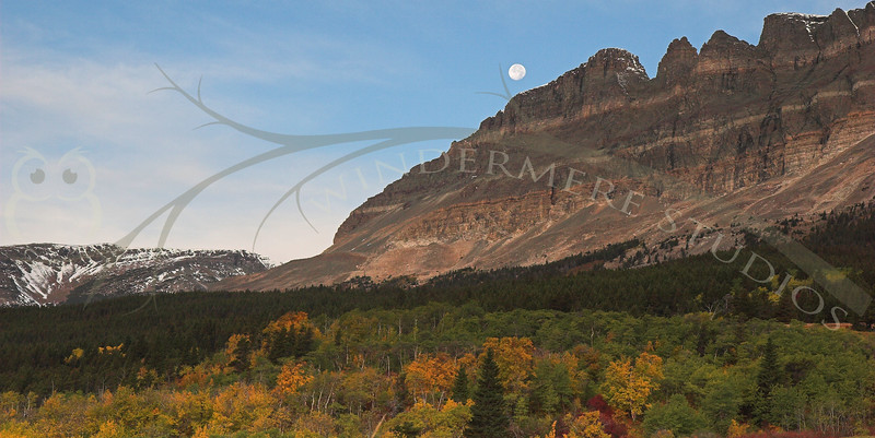 Setting Moon, Going t the Sun Road, Glacier National Park