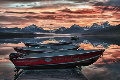 Ready to launch.  Boats for rent at Apgar village, Glacier National Park. Purchase a beautiful frame for this image at: glacier national park art