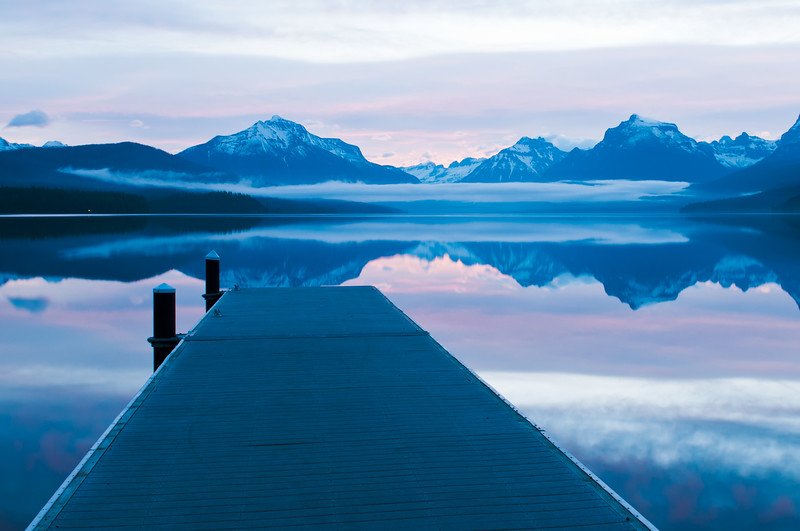 Pier at lake Mcdonald just before sunrise