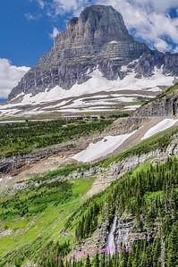Logan Pass Visitor Center (center of photo), Glacier National Park.
