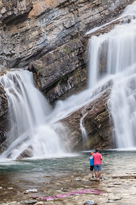 Looking for a good fishing spot at Cameron Falls, Glacier International Peace Park, Waterton Village, Alberta Canada.