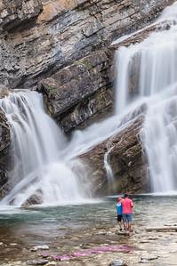 Looking for a good fishing spot at Cameron Falls, Glacier International Peace Park, Waterton Village, Alberta Canada.