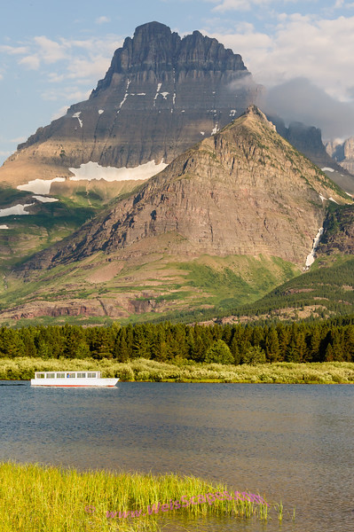 Start of the day for the cruise ship on Swiftcurrent Lake, Glacier National Park.