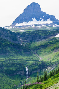 Looking towards the Logan Pass Visitor Centor (upper right), Glacier National Park.