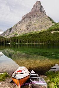 Reflections on Swiftcurrent Lake, Glacier National Park.