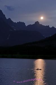 Kayak on Swiftcurrent Lake, Glacier National Park.