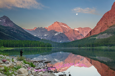 Morning reflections on Swiftcurrent Lake, Glacier National Park.