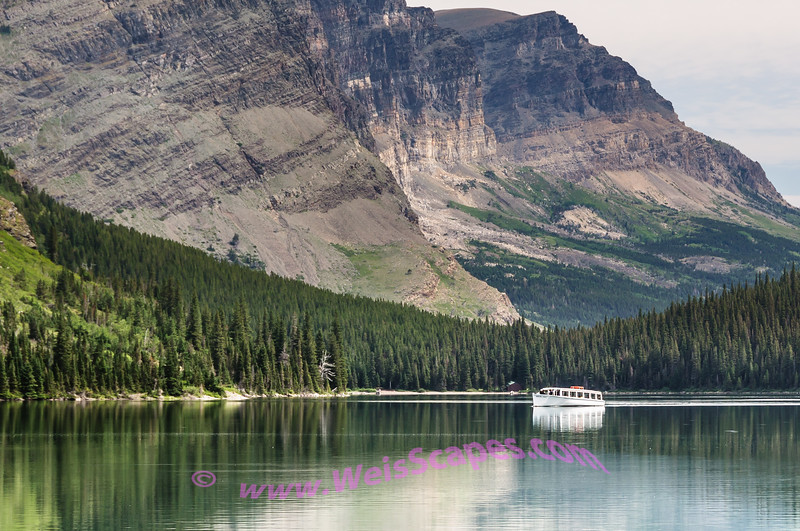 The Morning Eagle cruise ship on Lake Josephine, from the Grinell Glacier Trail, Glacier National Park.
