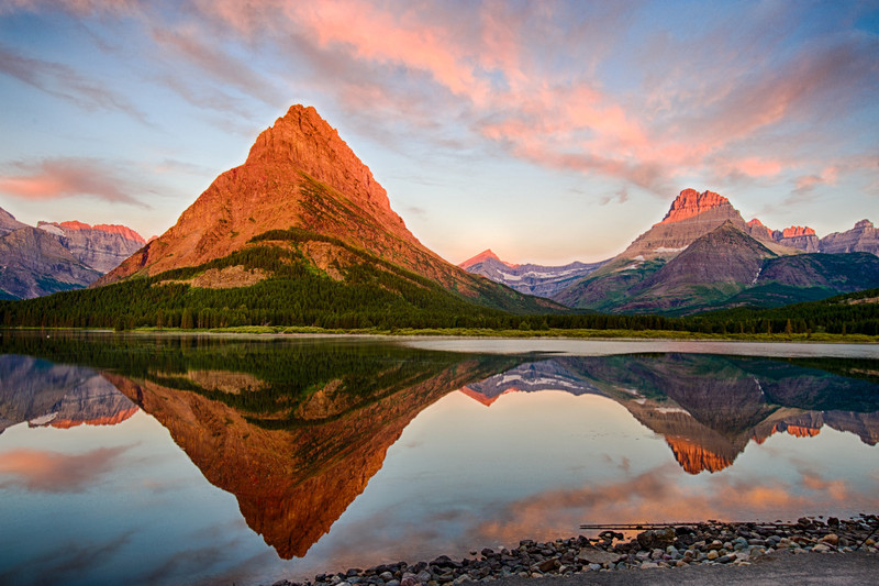 Sunrise view of Grinnell Point at Many Glacier<br /> Glacier National Park