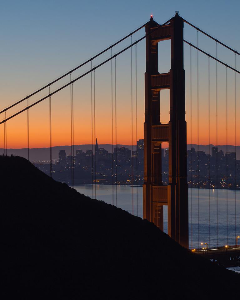 Golden Gate Bridge and San Francisco at dawn