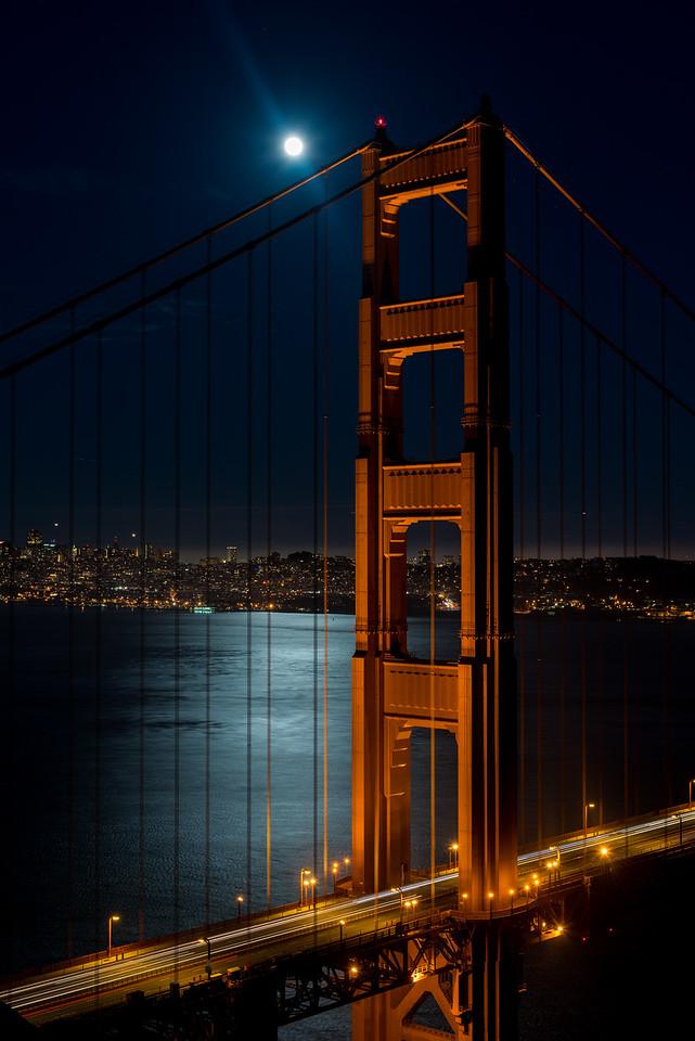 Golden Gate Bridge and moon