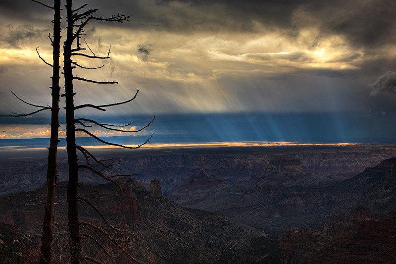 sun rays over roosevelt point grand canyon