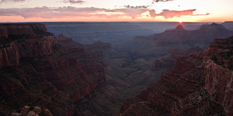 Candle Sunset<br /> <br /> The sun sets, illuminating the tip of a peak in the canyon, as if it were a candle.<br /> Cape Royal, Grand Canyon National Park, Arizona, USA