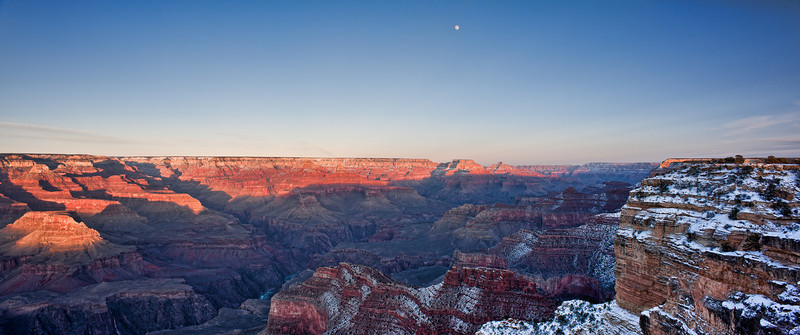 Maricopa Moon Set<br /> <br /> The moon slowly descends over the canyon at sunset<br /> Maricopa Point, Grand Canyon National Park, Arizona, USA