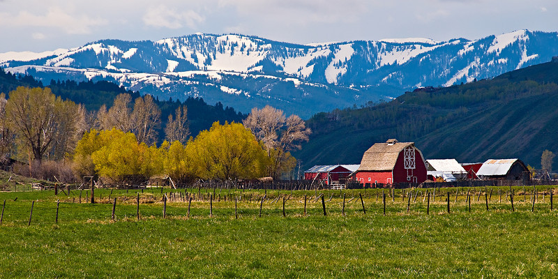 """Farm in the Grand Tetons"" - Spring. Jackson Hole, Wyoming."