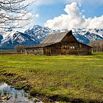 """Mormon Row Barns in the Grand Tetons"" Grand Teton National Park near Jackson Hole, Wyoming.  My parents went out to the Grand Tetons, so I decided to head out and take pictures!  You can't go wrong with free accomodations!  Unfortunately, this was one of the few times during the week you could actually SEE the Grand Tetons!  This was captured in the spring just after the snows were clearing. I decided to go with a pano view with the trees on the left just for something different. Just nice texture on the barn and the mountains in the background!"
