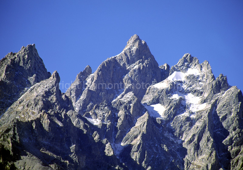 Grand Teton Mountain tops, color shot on Kodachrome