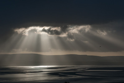 Sun rays over Morecambe Bay