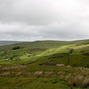 Rolling green hills in Yorkshire Dales, England