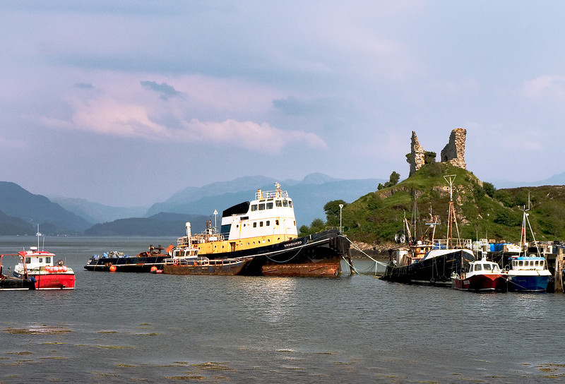 Tugboat by a Scottish Ruin