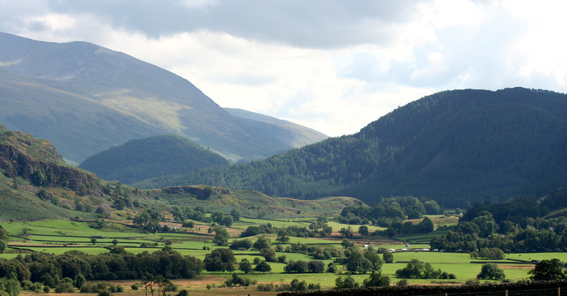 View of St. Johns in the Vale from the Castlerigg stone circle in the Lake District, UK.