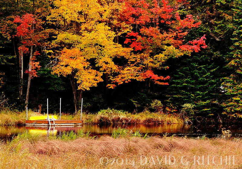 """Waiting for David""<br /> Fall colors and empty boat on the north Moose River near Old Forge, NY"