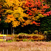 """""""Waiting for David""""<br /> Fall colors and empty boat on the north Moose River near Old Forge, NY"""