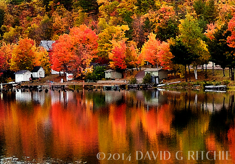 """Fall Reflections v1""<br /> Lake Loc La Belle near Copper Harbor, MI.  Photoshop watercolor rendition."