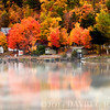 """Fall Reflections v2""<br /> Lake Loc La Belle near Copper Harbor, MI.  Photoshop watercolor rendition with added fog."