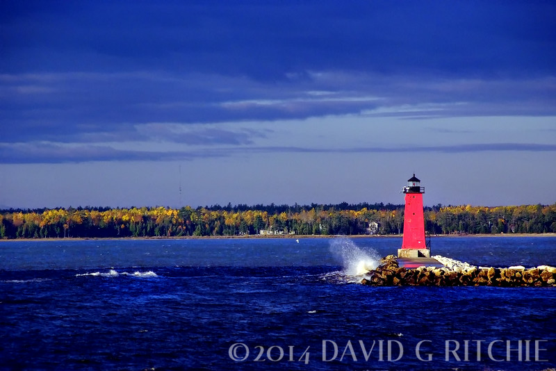 Manistique lighthouse located on Lake Michigan