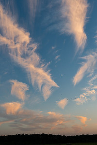 20120822.  Sunset clouds and Moon at Great Meadows NWR.