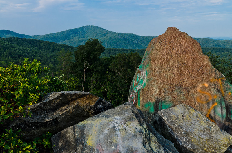 The Brown mountain rock. I think folks leave messages for the aliens on this rock.