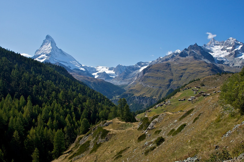 Matterhorn and the village of Findeln