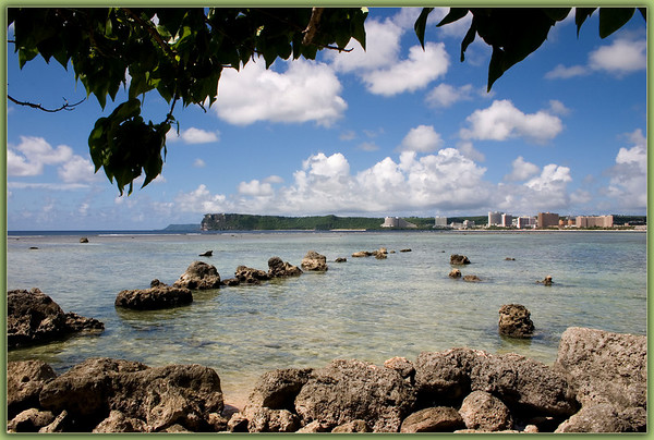 Two Lover's Point viewed across Tumon Bay from the Hilton Hotel.