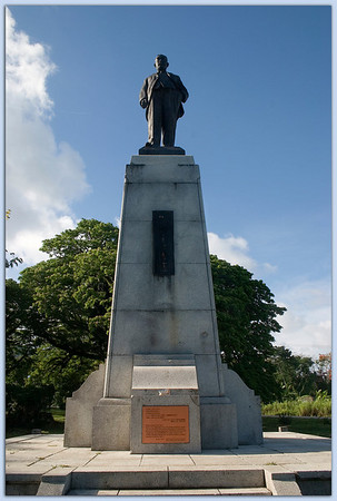 Memorial to Mr. Haruji Matsue, the entrepreneur who made sugarcane the economic mainstay of the Marianas during the 1930s......................................Sugar King Park, Saipan