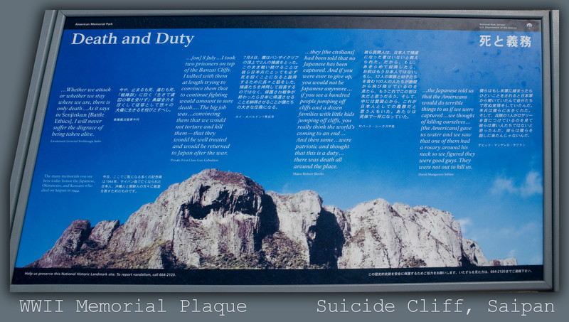 WWII Memorial Plaque at Suicide Cliff