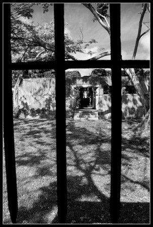 View from inside of one of the cells at the Old Japanese Jail in Saipan. The world must have seemed colorless and shadowy to the occupant of this cell in WWII.