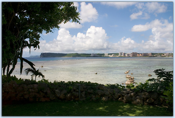 Tumon Bay<br /> Two Lover's Point viewed across Tumon  Bay from the Hilton Hotel.