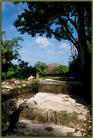 The sea is viewable along this section of the stone stairway of Sugar King Park.