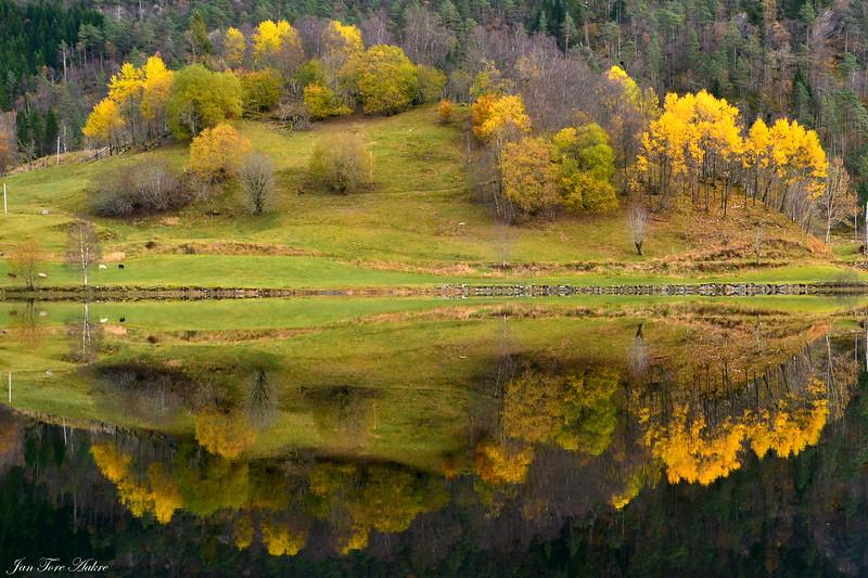 Hauststemning ved Sævellvatnet<br /> <br /> Autumn reflection