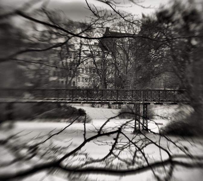 Ice Bridge.<br /> Broen over søen i H.C. Ørstedparken, København, Danmark.<br /> Platinum in Corel Photo Paint.