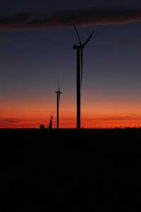 Windmills at dusk