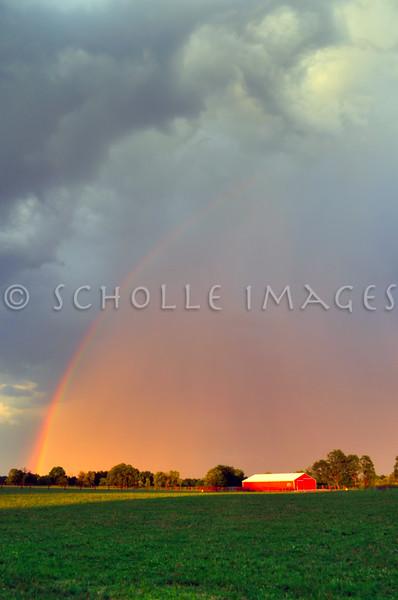 Rainbow over Red Barn